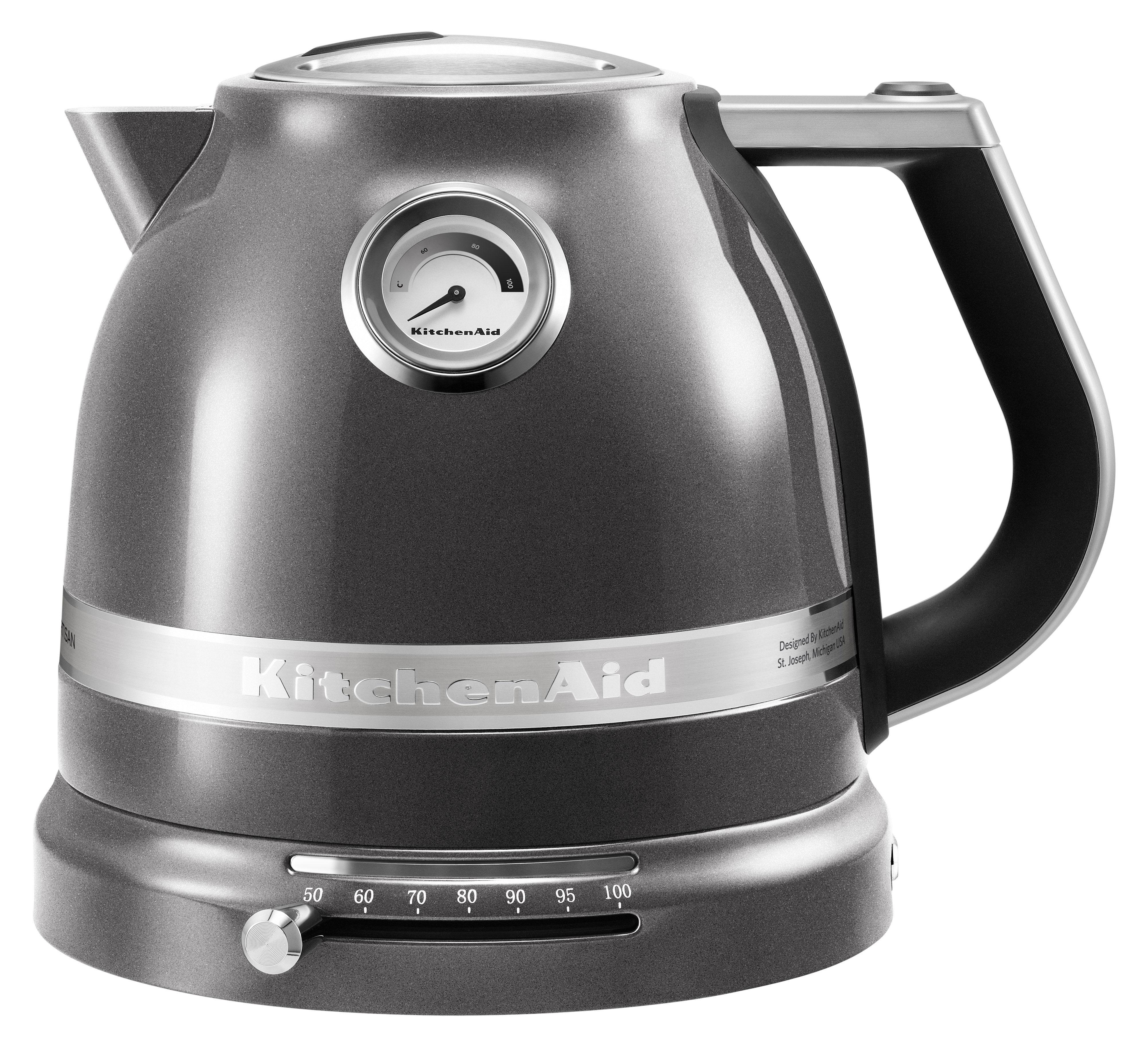 Cuisine - Electroménager - Bouilloire électrique Artisan 1,5 L / Température réglable - KitchenAid - Gris étain - Acier, Aluminium, Plastique