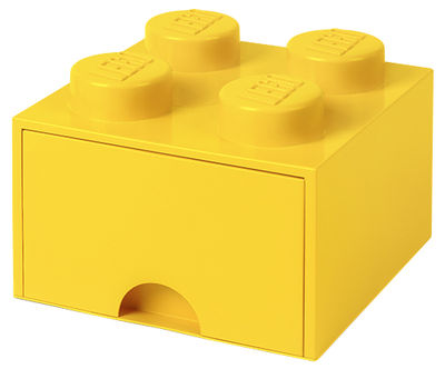 Decoration - Children's Home Accessories - Lego® Brick Box - / 4 studs - Stackable - 1 drawer by ROOM COPENHAGEN - Yellow - Polypropylene