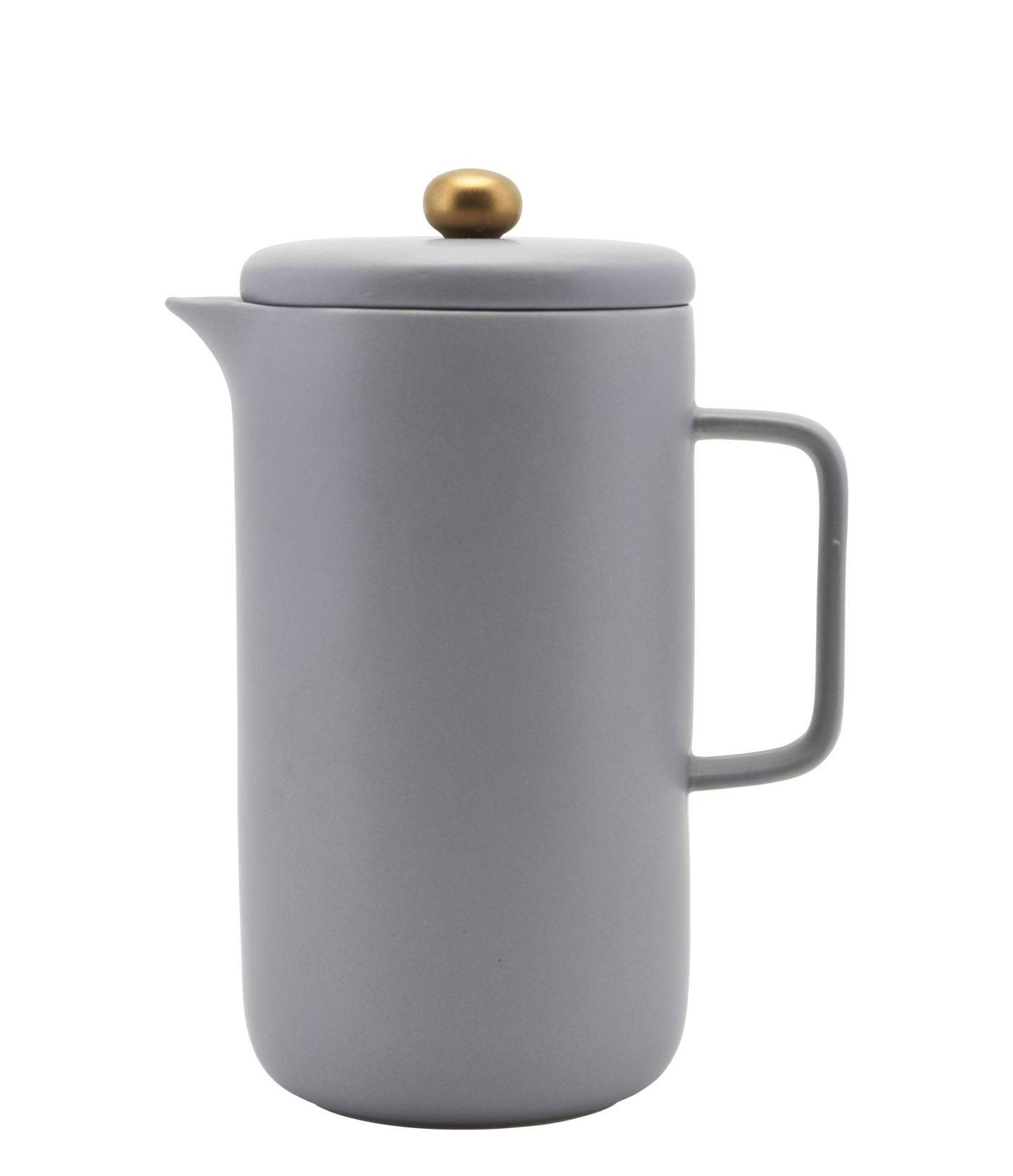 Arts de la table - Thé et café - Cafetière à piston Pot / Porcelaine - 1 L - House Doctor - Gris - Acier, Porcelaine