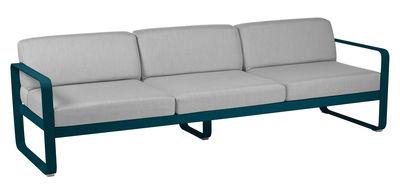 Canapé droit Bellevie 3 places / L 235 cm - Tissu gris - Fermob gris flanelle,bleu acapulco en métal