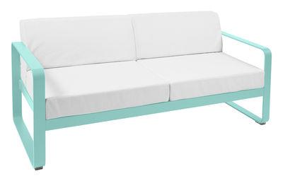 Canapé droit Bellevie 2 places / L 160 cm - Tissu blanc - Fermob blanc,bleu lagune en métal