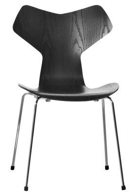 Mobilier - Chaises, fauteuils de salle à manger - Chaise empilable Grand Prix / Bois - Fritz Hansen - Noir - Acier, Frêne