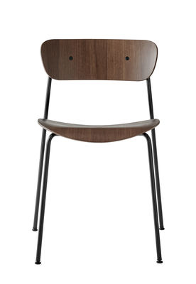 Mobilier - Chaises, fauteuils de salle à manger - Chaise empilable Pavilion AV1 / Bois laqué - &tradition - Noyer laqué - Acier, Noyer