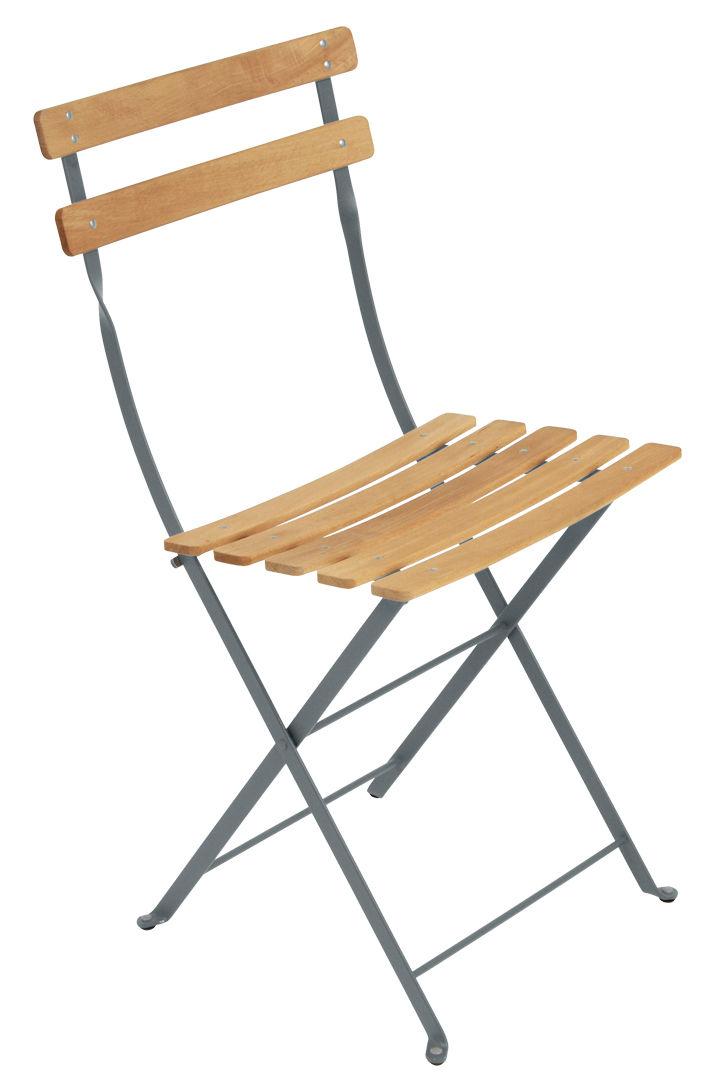 Mobilier - Chaises, fauteuils de salle à manger - Chaise pliante Bistro / Bois - Fermob - Gris orage / Bois - Acier peint, Hêtre traité