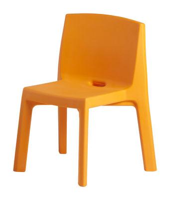Mobilier - Chaises, fauteuils de salle à manger - Chaise Q4 / Plastique - Slide - Orange - Polyéthylène