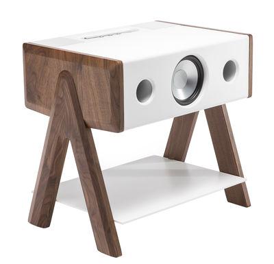 Dossiers - San Valentino - Cassa stereo Blueooth Cube / Corian® - La Boîte Concept - Corian bianco & noce - Corian, Noce