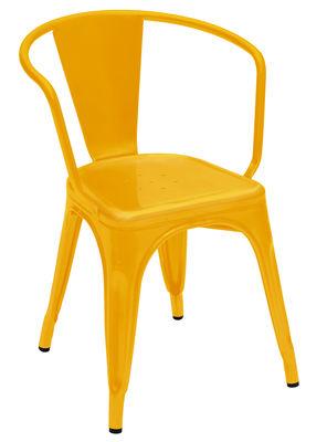 Mobilier - Chaises, fauteuils de salle à manger - Fauteuil A56 empilable / Acier - Couleur brillante - Intérieur - Tolix - Jaune - Acier laqué
