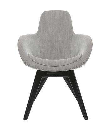 Möbel - Stühle  - Scoop Gepolsterter Sessel / hohe Rückenlehne - Stuhlbeine Holz - Tom Dixon - Hellgrau / Stuhlbeine Holz, schwarz - Kvadrat-Gewebe, Lackierte massive Birke, Schaumstoff