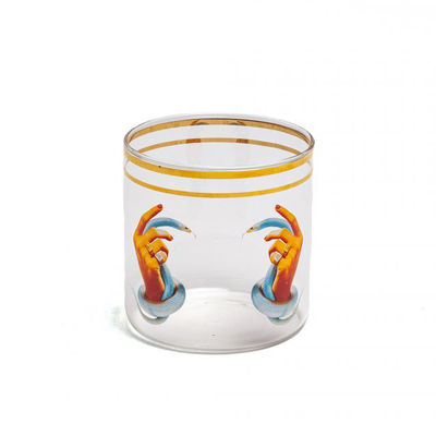 Tableware - Wine Glasses & Glassware - Toiletpaper - Hands with snakes Glass - / H 8.5 cm by Seletti - Hands with snakes - Borosilicated glass, Vegetable wax