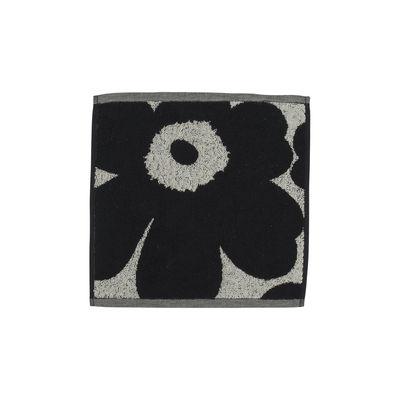 Accessories - Bathroom Accessories - Unikko Guest towel - / 30 x 30 cm by Marimekko - Unikko / Beige cotton & dark blue - Cotton, Linen