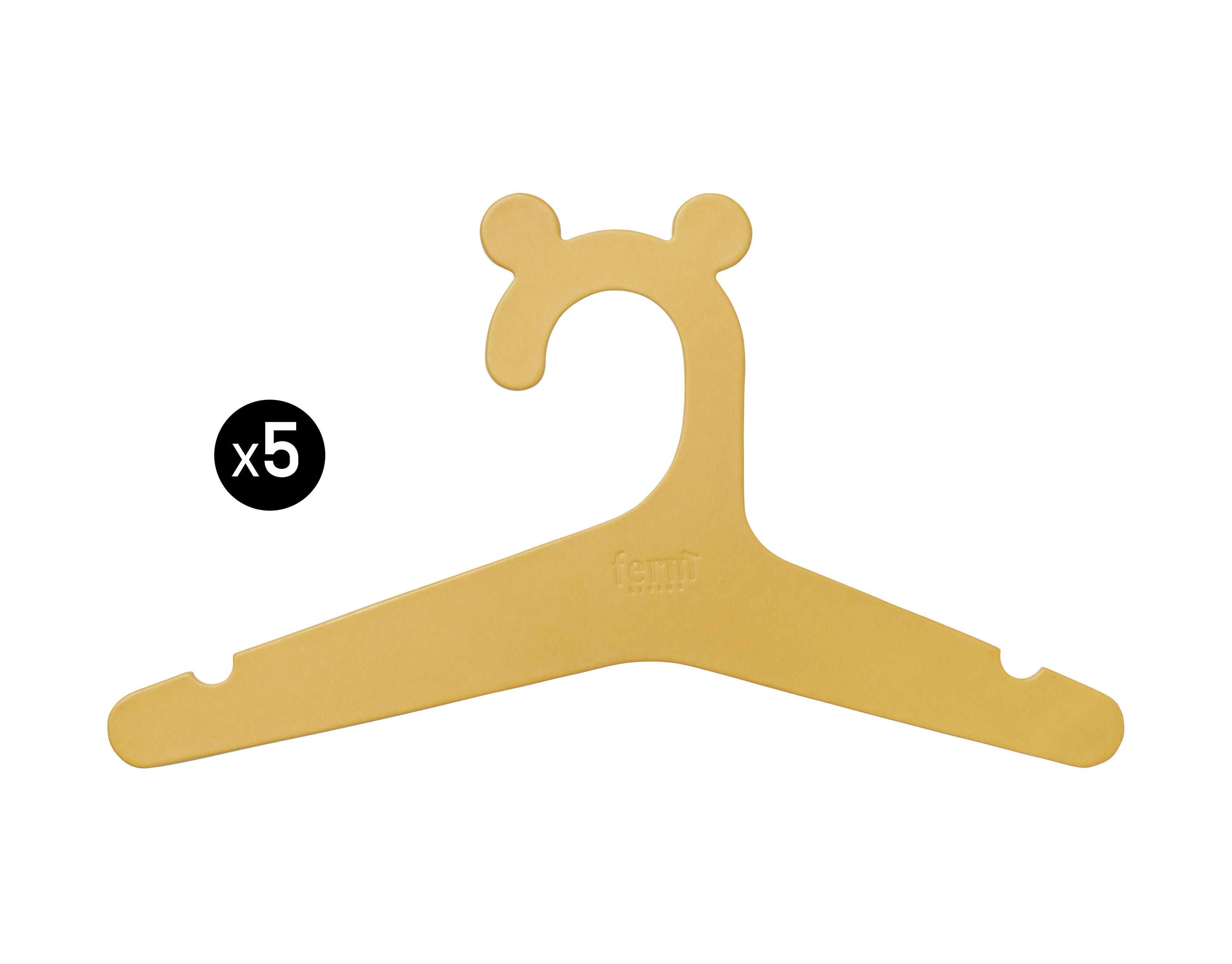Möbel - Möbel für Kinder - Kids Kleiderbügel / aus recycelter Pappe - 5er-Set - Ferm Living - Currygelb - Carton recyclé