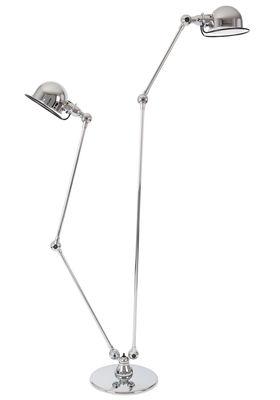 Illuminazione - Lampade da terra - Lampada da lettura Loft - doppio - 2 bracci articolati - H max 160 cm / 120 cm di Jieldé - Cromato brillante - Acciaio inox cromato