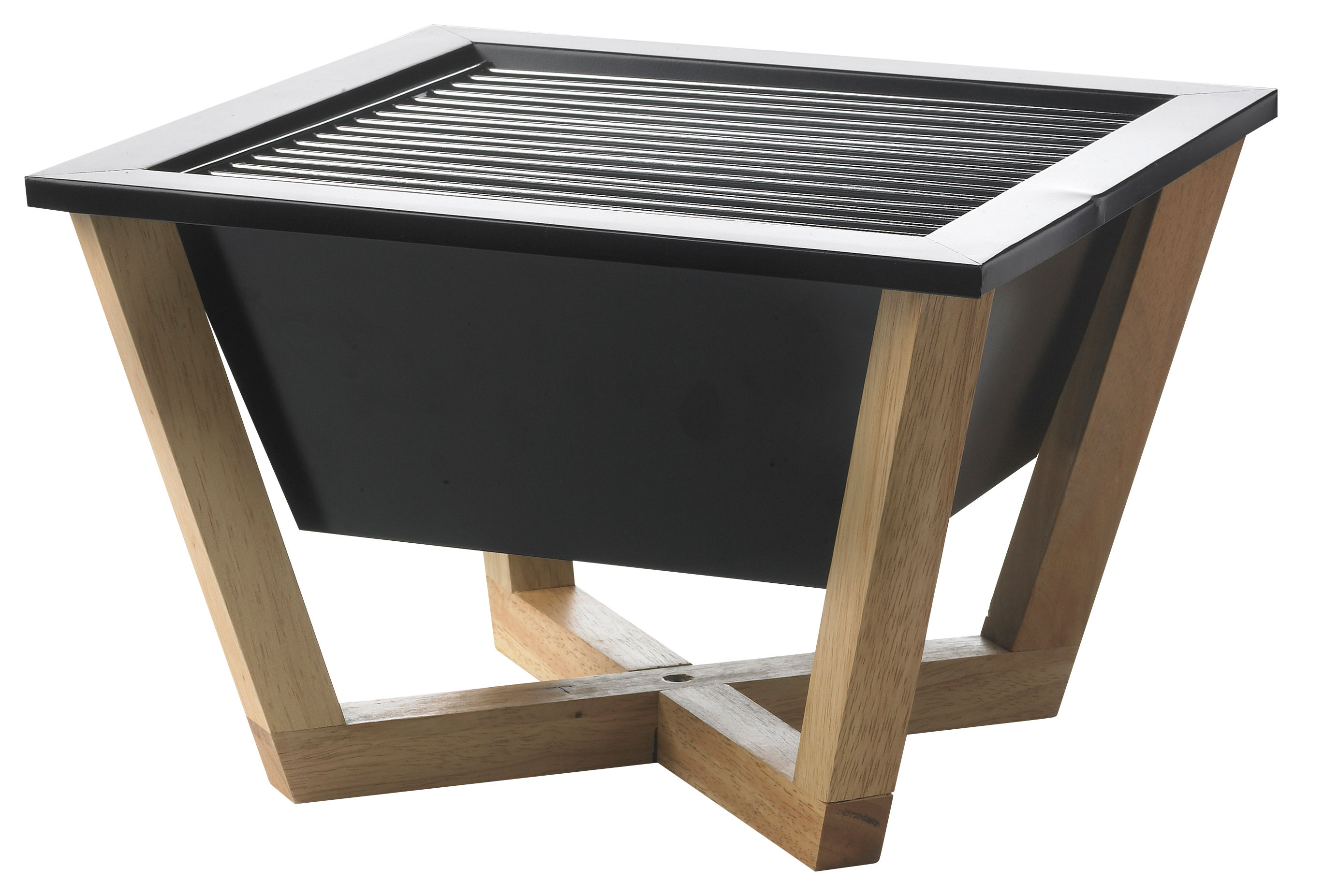 Outdoor - Barbecues & Charcoal Grills - Nido Movable charcoal barbecue - 35 x 35 cm by XD DESIGN - Black - Carbon steel, Wood