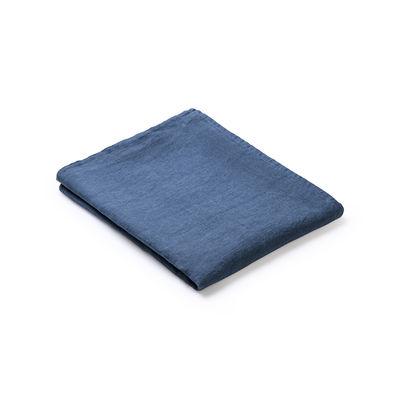Nappe en tissu / 160 x 160 cm - Lin traité TEFLON®anti-tache - Au Printemps Paris bleu en tissu