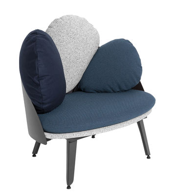 Furniture - Armchairs - Nubilo Padded armchair - / L 77 cm by Petite Friture - Blue/Grey, Petrol Blue - Nylon, Polyester, Powder coated steel, Wool