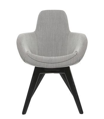 Furniture - Chairs - Scoop Padded armchair - / High back - Wooden feet by Tom Dixon - Light grey / Black wooden feet - Foam, Kvadrat fabric, Solid lacquered birch