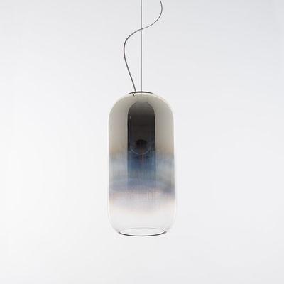 Lighting - Pendant Lighting - Gople Pendant - / Glass - H 42 cm by Artemide - Silver / transparent gradient - Blown glass