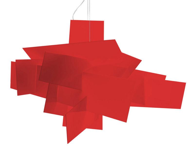 Leuchten - Pendelleuchten - Big Bang Pendelleuchte LED / dimmbar - Ø 96 cm - Foscarini - Rot - Acier inox, Aluminium laqué époxy, Polykarbonat
