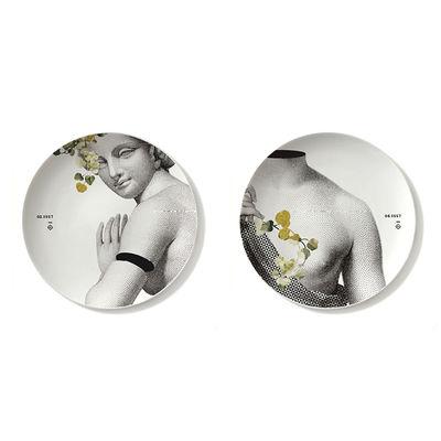 Image of Piatto Parnasse Printemps - / Set di 2  - Ø 27 cm / Porcellana di Ibride - Bianco/Giallo/Grigio - Ceramica