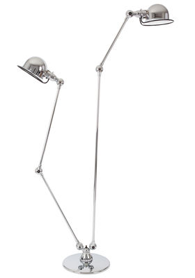 Lighting - Floor lamps - Loft Small reading lamp - Double - 2 arms / H max 160 cm and 120 cm by Jieldé - Chromium plated steel - Chromed stainless steel