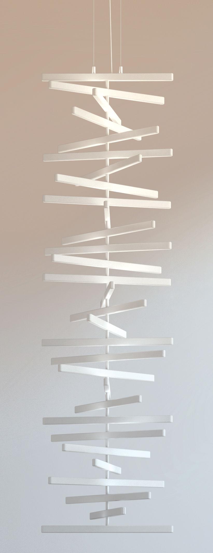 Illuminazione - Lampadari - Sospensione Rhythm - LED / H 163 x L 47 cm di Vibia - L 47 cm / Bianco - policarbonato