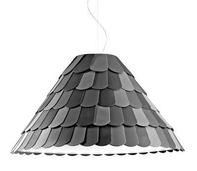 Illuminazione - Lampadari - Sospensione Roofer - paralume conico di Fabbian - Cono Empire - Antracite - Gomma