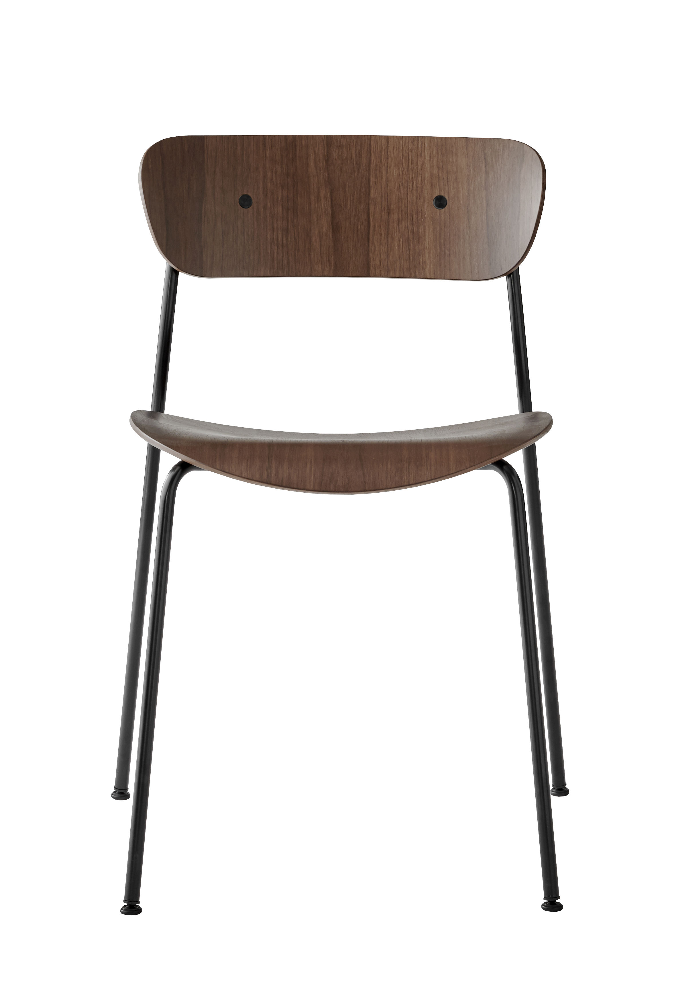 Furniture - Chairs - Pavilion AV1 Stacking chair - / Lacquered wood by &tradition - Lacquered walnut - Steel, Walnut