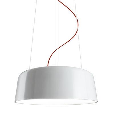 Luminaire - Suspensions - Suspension Blanca / Aluminium - Ø 60 cm - Panzeri - Blanc brillant / Câble rouge - Aluminium tourné, PMMA