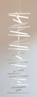 Suspension Rhythm LED / H 163 x L 47 cm - Vibia blanc en matière plastique