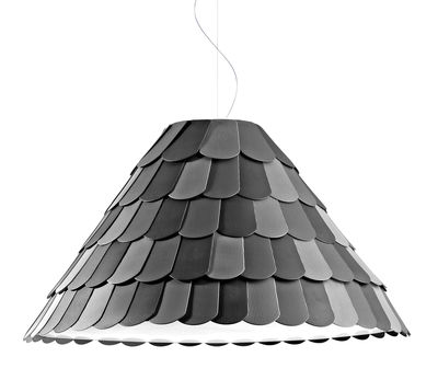 Luminaire - Suspensions - Suspension Roofer abat-jour conique - Fabbian - Cône Empire - Anthracite - Gomme