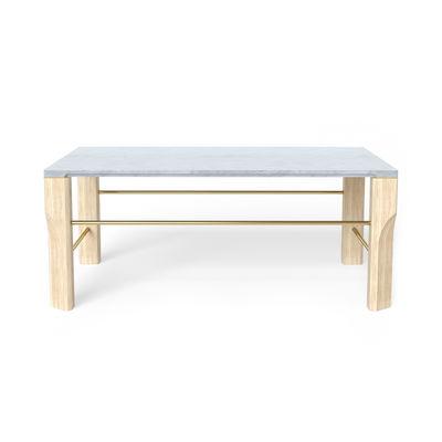Table basse Joséphine / Marbre - 100 x 70 cm - Hartô chêne naturel,laiton brossé,marbre blanc en bois