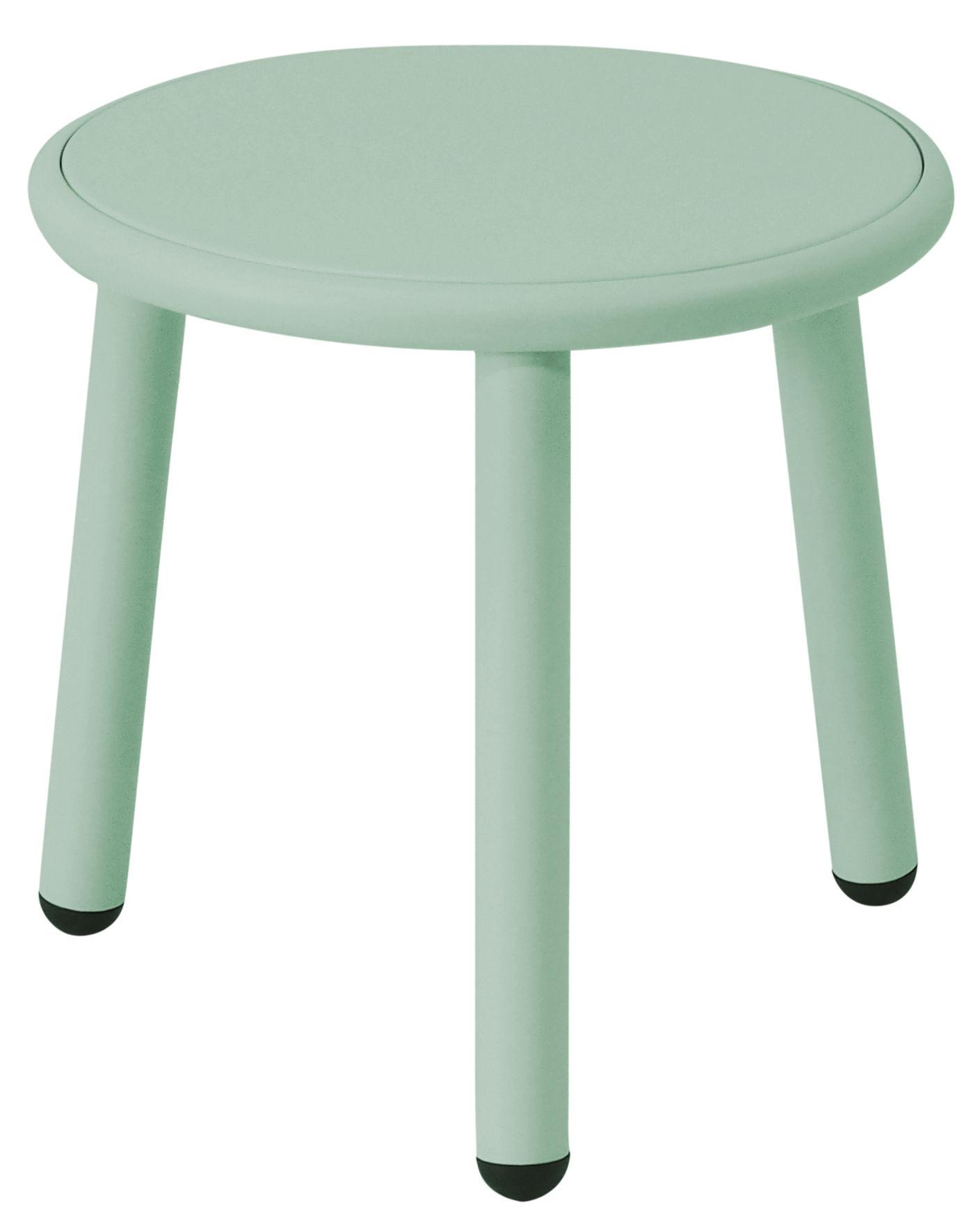 Mobilier - Tables basses - Table basse Yard / Ø 40 cm - Emu - Vert / Plateau vert - Aluminium verni