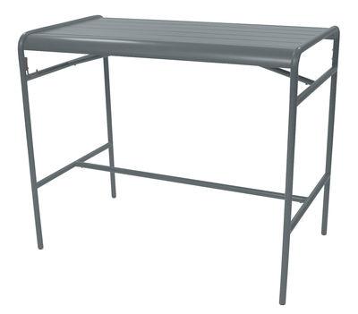 Table haute Luxembourg / 4 personnes - 126 x 73 cm - Aluminium - Fermob gris orage en métal
