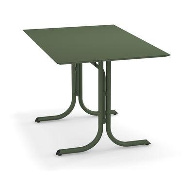 Outdoor - Tavoli  - Tavolo pieghevole System - / 80 x 120 cm di Emu - Verde militare - Acciaio galvanizzato verniciato