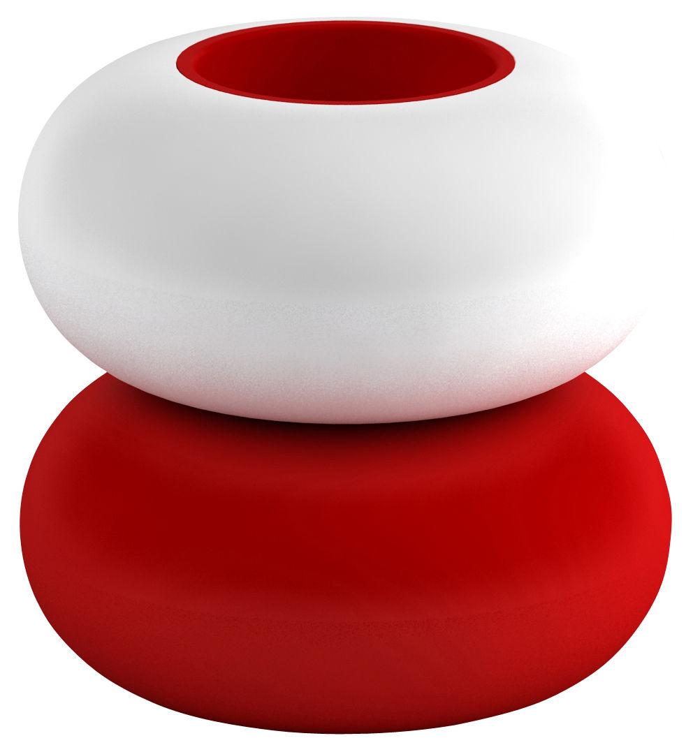 Dekoration - Vasen - Faituttotu Vase - Modèle 4 Vase - Serralunga - Weiß / rot - Polyäthylen