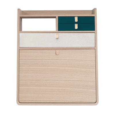 Furniture - Kids Furniture - Gaston Wall writing desk - / L 60 x H 72 cm - Oak by Hartô - Petrol blue & light grey / Oak - Leather, MDF veneer oak