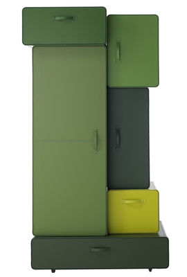 Furniture - Dressers & Storage Units - Valises Wardrobe - Cabinet by Casamania - Multicolour shades of green - Plywood with leather cover, Steel
