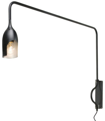 Luminaire - Appliques - Applique avec prise Tournebrille / Bras articulé - L 98 cm - Tsé-Tsé - Noir mat / Intérieur doré - Aluminium