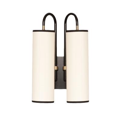 Luminaire - Appliques - Applique Tokyo Double / Coton - H 42 cm - Maison Sarah Lavoine - Coton blanc / Noir - Acier thermolaqué, Coton