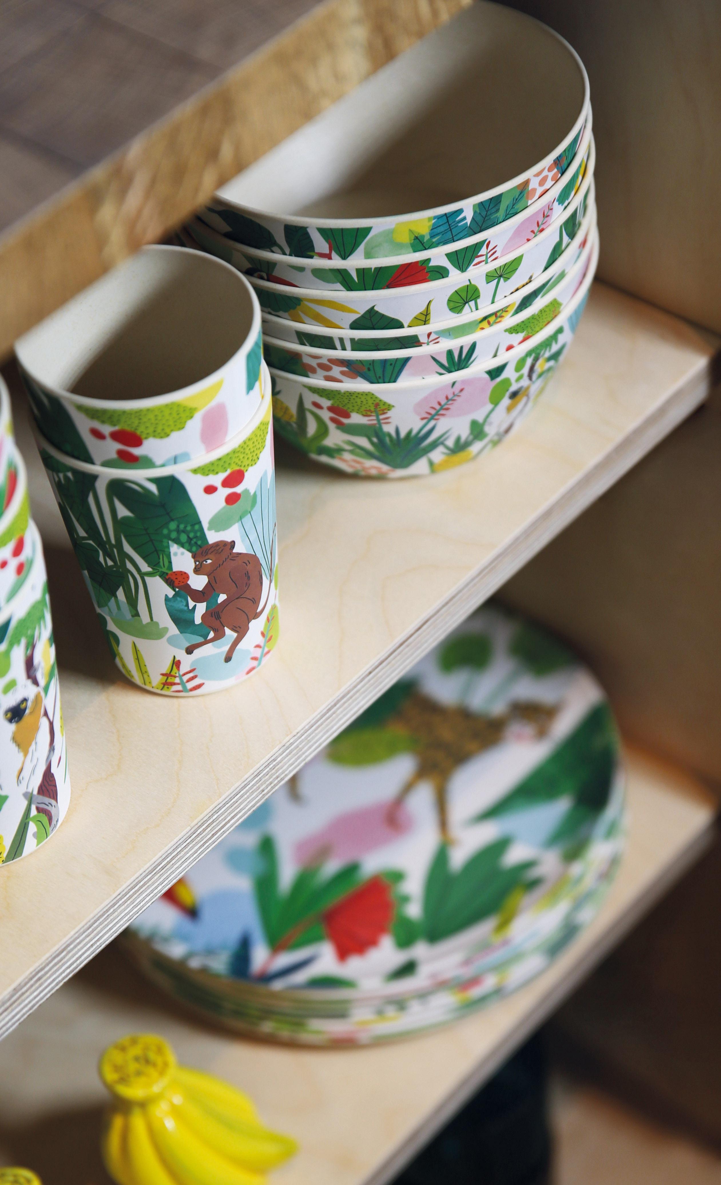 """Résultat de recherche d'images pour """"bambou jungle set vaisselle enfant"""""""