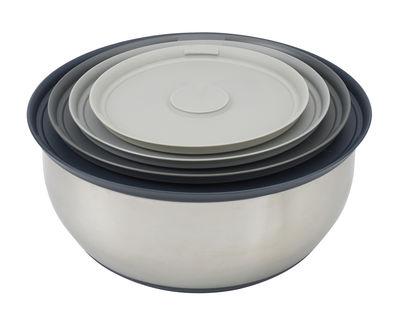 Arts de la table - Saladiers, coupes et bols - Bol Nest Prep & Store / 4 pièces empilables - Joseph Joseph - Acier & gris - Acier inoxydable, Plastique sans BPA