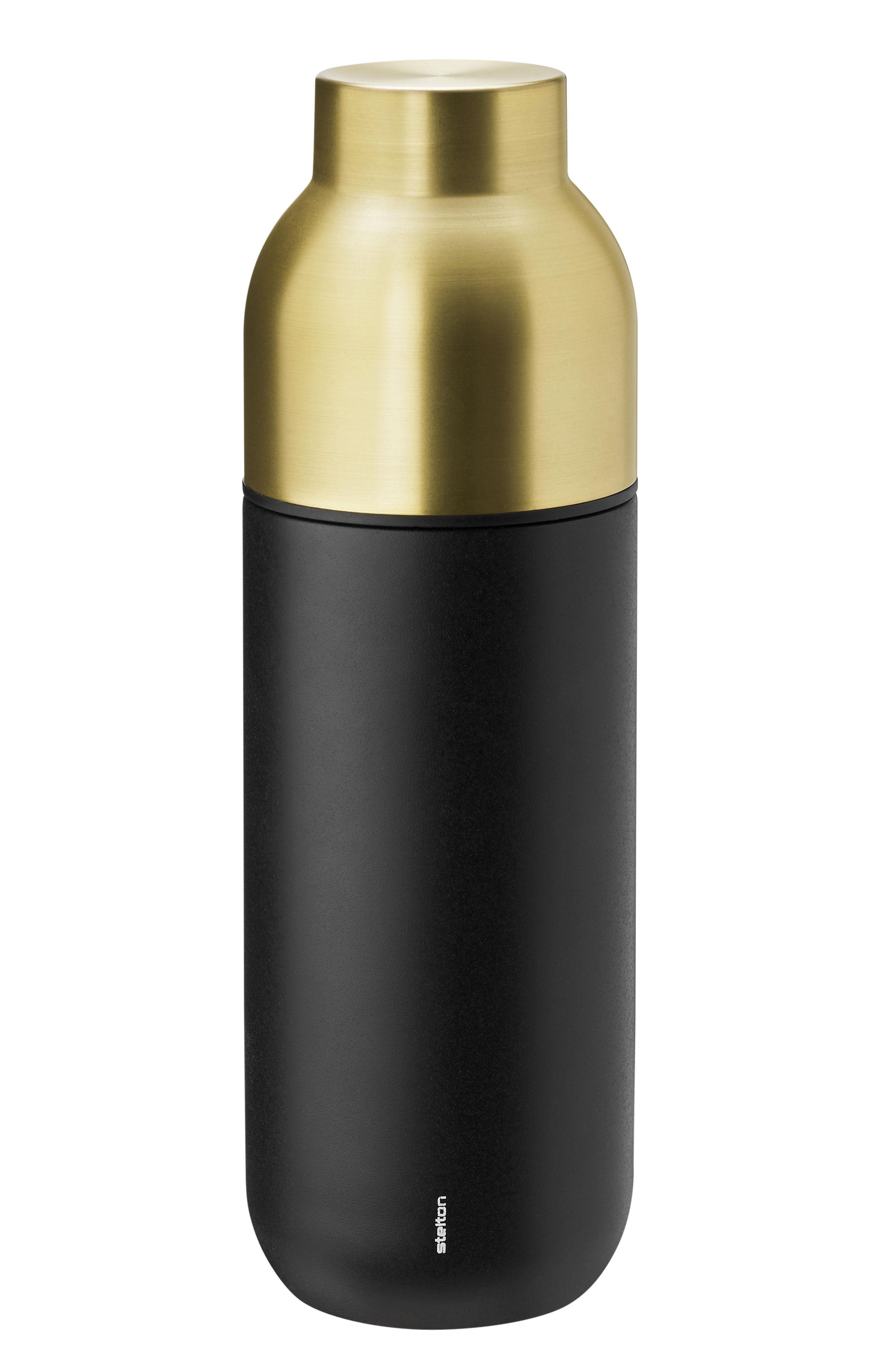Tavola - Caraffe e Decantatori - Bottiglia isotermica Collar - / 0, 75 L di Stelton - Nero opaco & ottone - Acier inoxydable revêtu de laiton, Acier inoxydable revêtu de Téflon®, Plastica, Silicone