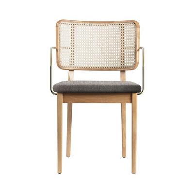 Furniture - Chairs - Cannage Bridge armchair - / Fabric - Brass armrests by RED Edition - Caviar grey fabric / Oak - Brass, Fabric, Foam, Rattan, Solid oak