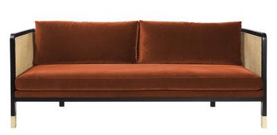 Canapé droit Cannage / L 210 cm - Velours - RED Edition noir,naturel,laiton,orange fox en tissu