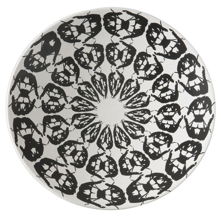 Déco - Corbeilles, centres de table, vide-poches - Centre de table Greeky / Ø 47 x H 7 cm - Fait main - Driade - Noir & blanc - Céramique peinte