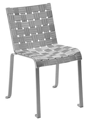 Mobilier - Chaises, fauteuils de salle à manger - Chaise empilable Inside Out By Andrée & Olivia Putman / Tissu tressé - Fermob Idoles - Gris perle / Structure gris métal - Aluminium