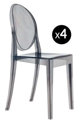 Chaise empilable Victoria Ghost / Lot de 4 - Polycarbonate 2.0 - Kartell gris en matière plastique