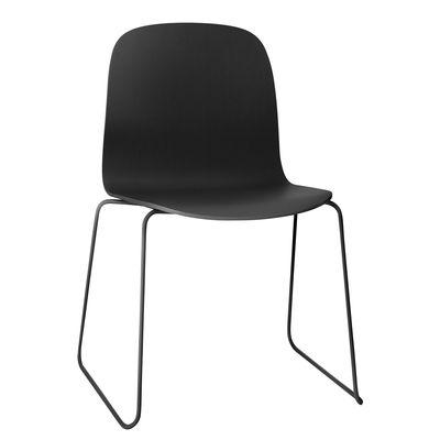 Chaise empilable Visu / Pieds acier - Muuto noir en bois