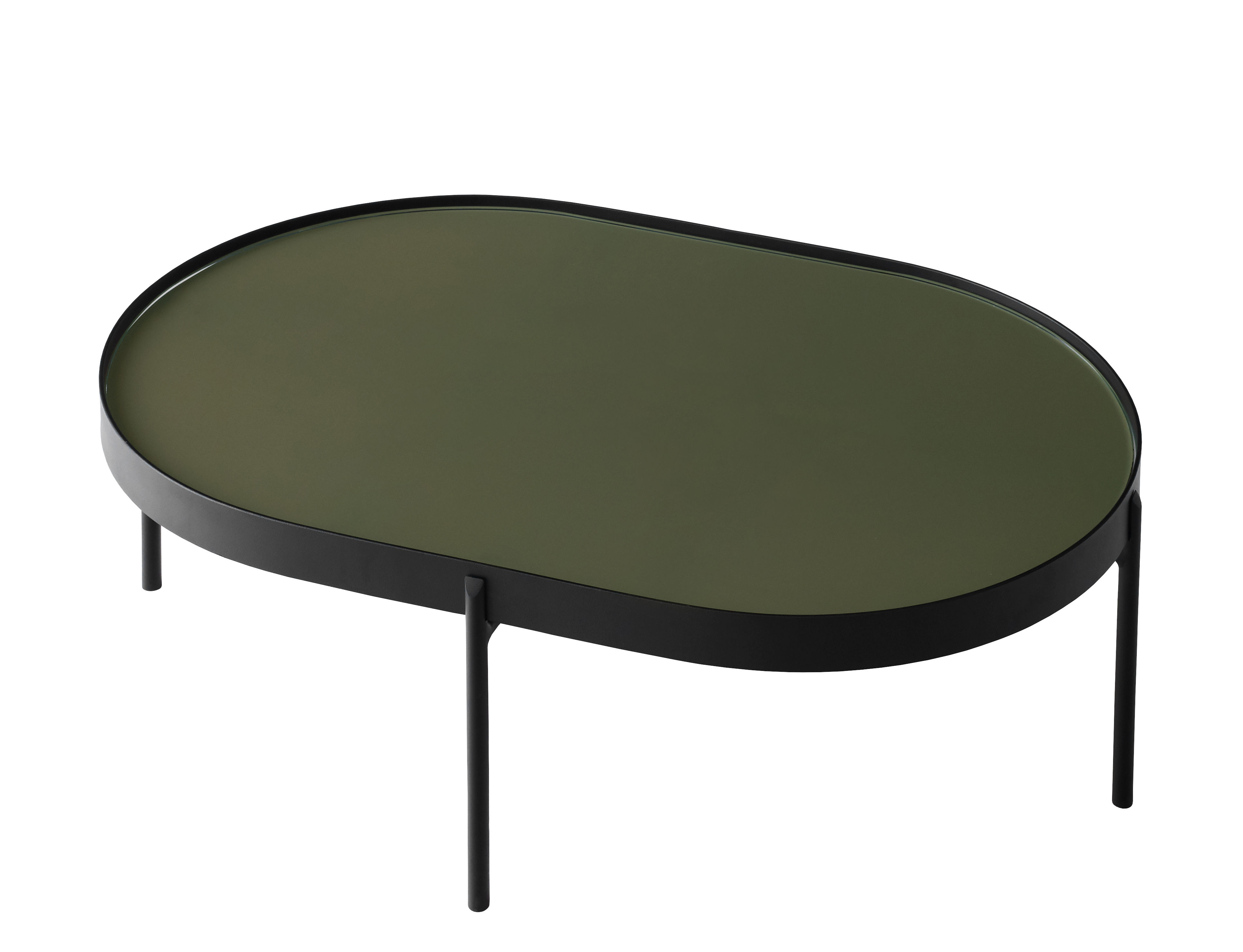 Furniture - Coffee Tables - No-No Large Coffee table - / 96 x 59 x H 35 cm by Menu - Dark green / Black structure - Polished glass, Powder steel