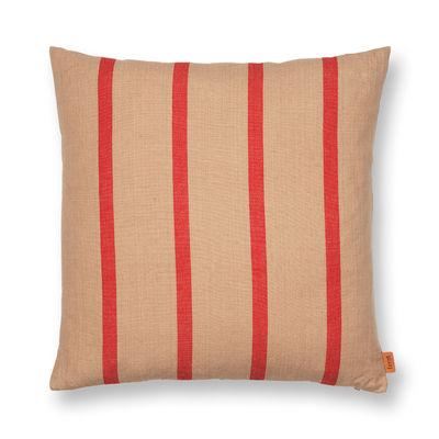 Decoration - Cushions & Poufs - Grand Cushion - / Linen & cotton - 50 x 50 cm by Ferm Living - Camel / Red -  Duvet,  Plumes, Cotton, Linen
